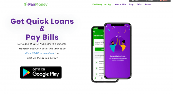 FairMoney - Payday loans up to N500.000